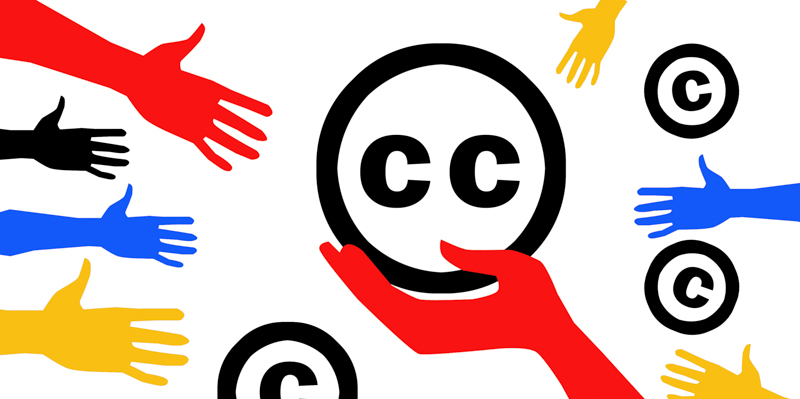 Creative Commons logo with copyright logos in background